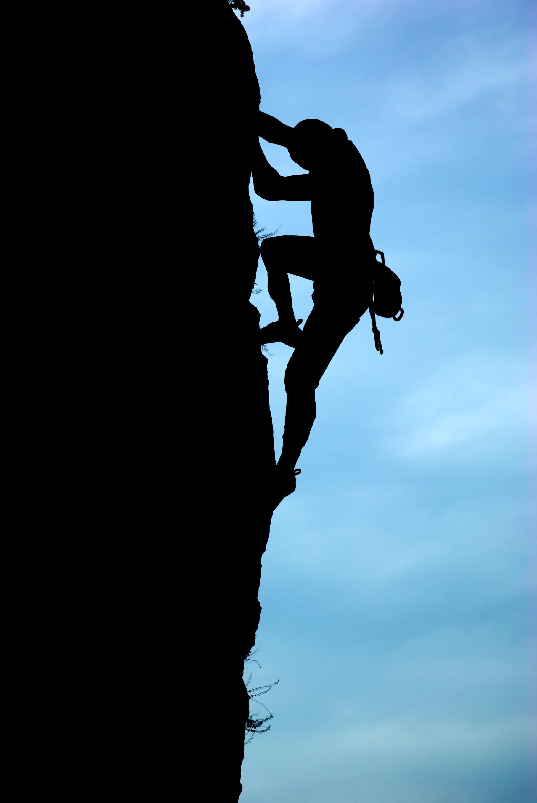 Silhouette of climber.