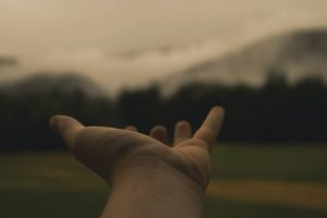 hand outstretched toward mountainous background