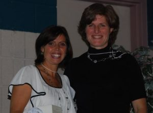 Diana Devine (left) with Threads of Life's Susan Haldane