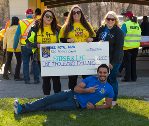 Cheque presentation at Steps for Life walk