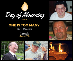 Day of Mourning, April 28, 2016. One is too many. Photos of four workers who died on the job.