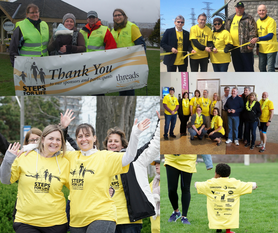 Collage of Walkers and volunteers at Steps for Life 2017