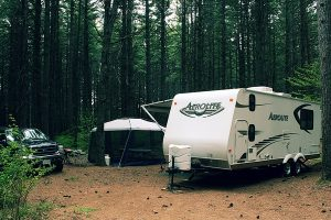 A camping trailer sits among trees at a camp site