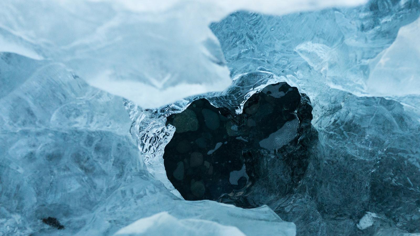 ice with a hole shaped like a heart