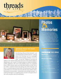 Cover of Threads Winter 2017 newsletter. Central image is a photo of framed family photos on a candlelit table.