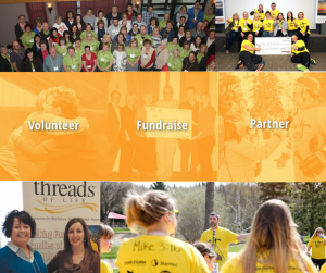 Volunteer Fundraise Partner images of volunteers and families