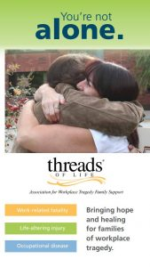 Cover of brochure: Two women hugging. Text reads: You're not alone. Work-related fatality, Life-altering injury, occupational disease. Bringing hope and healing for families of workplace tragedy.