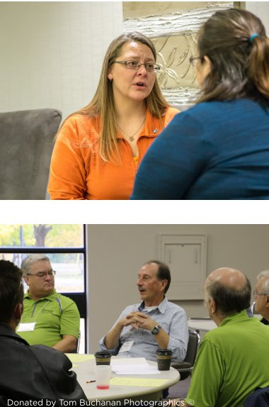 Top photo: Two women speaking. Lower photo: Man talks as other men sitting around a table listen.