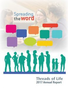"""Cover of 2017 Annual Report. Silhouettes of people talking in green with multi-coloured speech bubbles """"Spreading the word"""""""