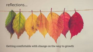 leaves of different colours strung along a string. Text reads: reflections ... Getting comfortable with change on the way to growth