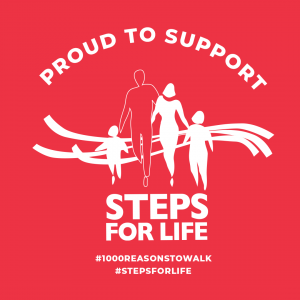 Red square with Steps for Life logo - text: Proud to Support (Steps for Life) #1000reasonstowalk #stepsforlife