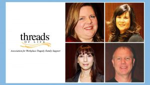 Headshots of three women and one man in four squares beside Threads of Life logo