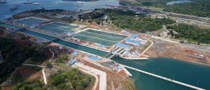 Overhead photo of the Panama Canal