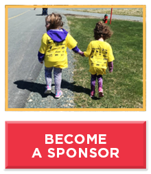 Two girls holding hands wearing yellow t-shirts, text reads become a sponsor