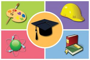 Graduation cap icon surrounded by painter's palette, hard hat, books, and an atom