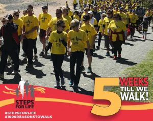 Group of people walking in yellow T-shirts. 5 weeks till we walk!