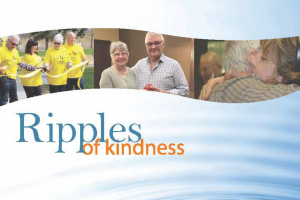 Photos of volunteers and staff appear in a ribbon, with the text Ripple of kindness