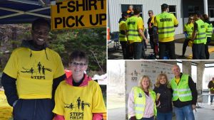 Collage of Steps for Life volunteers smiling and posing for the camera, and some huddled and talking while wearing volunteer vests