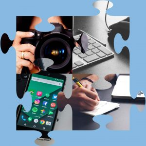 Four puzzle pieces showing images of woman taking a picture, a keyboard, a phone screen, and a person writing on a stack of paper