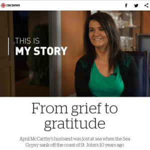 Image of woman, text reads This is My Story: From grief to gratitude