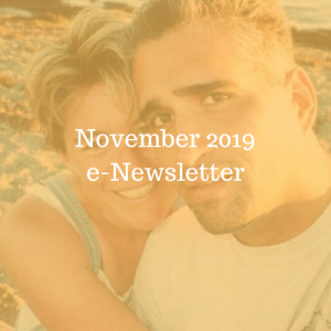 November 2019 e-Newsletter. Photo of woman and man smiling on beach.