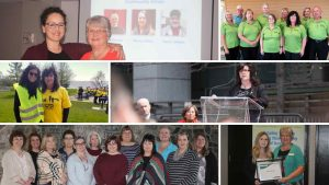 Collage of photos of volunteers, family members and staff.