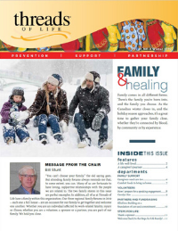 """Front cover of Fall 2019 newsletter, with lead title """"Family & healing"""" and picture of man, woman, and child playing in the snow"""