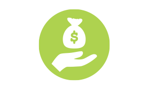 Icon of hand facing palm up. A bag with a dollar sign rests above palm.