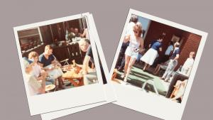 faded polaroid photos of family barbecue