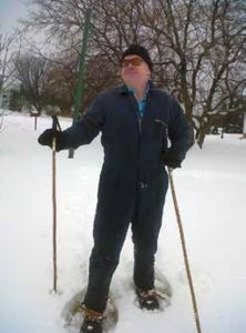 Vance out for a snowshoe