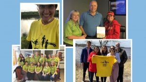 collage of various Threads of Life volunteers. Many are wearing yellow Steps for Life t-shirts.