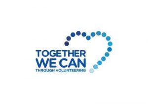 Blue logo of heart with text that reads Together We Can Through Volunteers