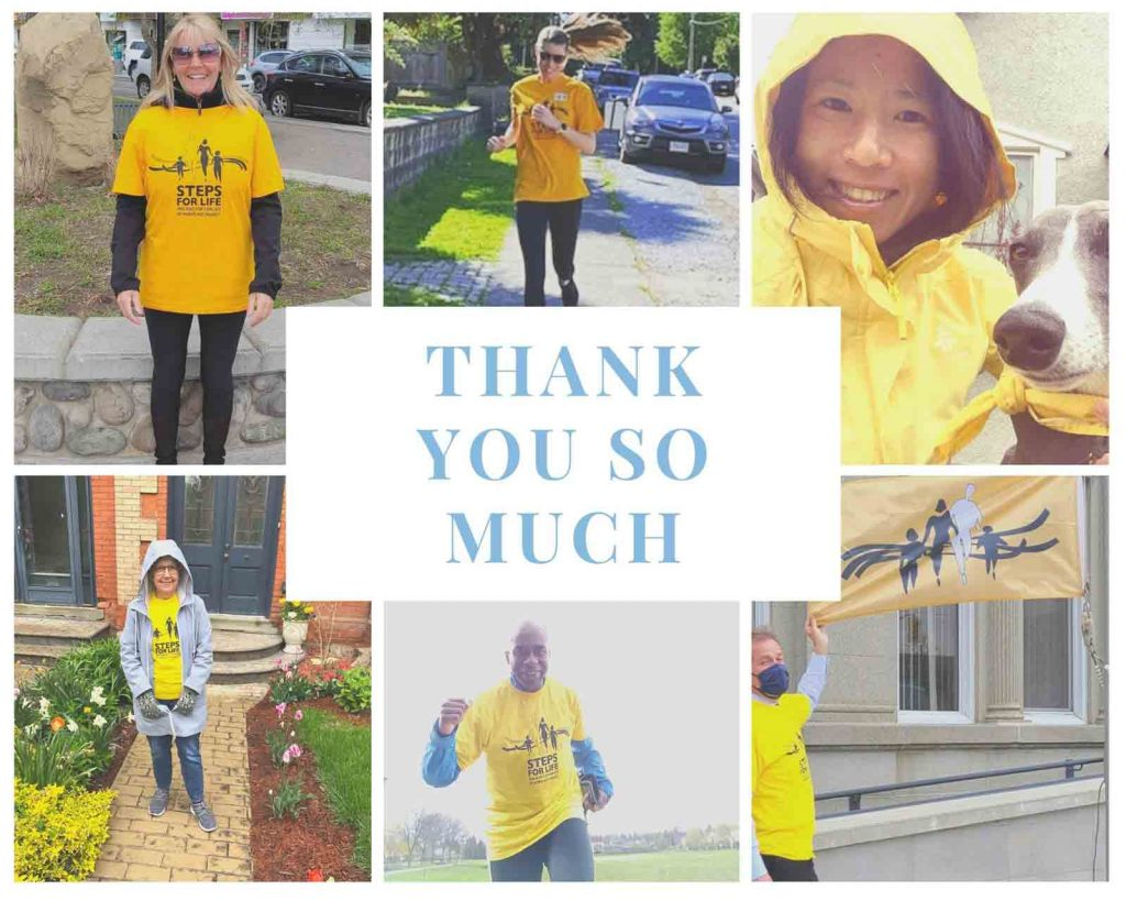 Collage of walkers in their yellow t-shirts and text that reads