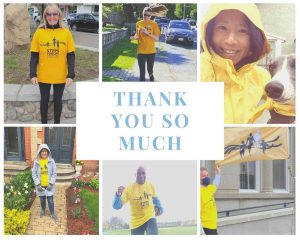 """Collage of walkers in their yellow t-shirts and text that reads """"Thank you so much"""""""