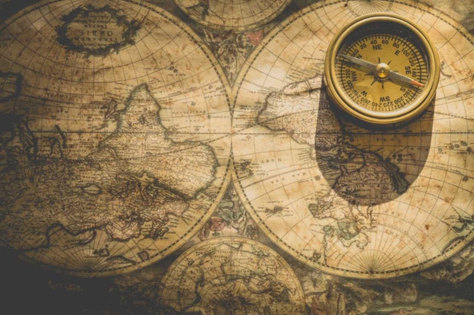 antique map and compass